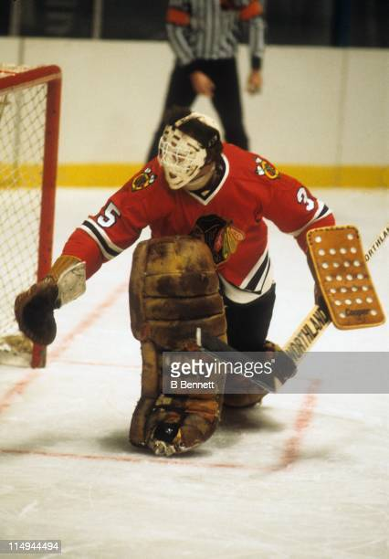 Goalie Tony Esposito of the Chicago Blackhawks defends the net during an NHL game against the New York Rangers on November 15 1978 at the Madison...