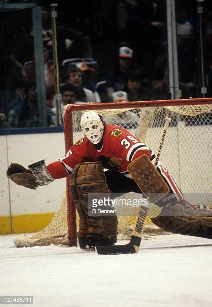 Goalie Tony Esposito of the Chicago Blackhawks defends the net during an NHL game against the New York Islanders on November 20 1982 at the Nassau...