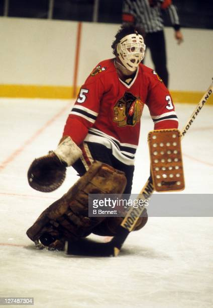 Goalie Tony Esposito of the Chicago Blackhawks defends the net during an NHL game in December 1978