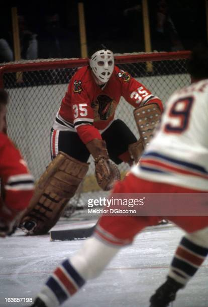 Goalie Tony Esposito of the Chicago Blackhawks defends the net during an NHL game against the New York Rangers circa 1973 at the Madison Square...