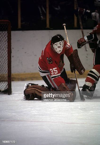 Goalie Tony Esposito of the Chicago Blackhawks makes the glove save during an NHL game against the New York Rangers circa 1973 at the Madison Square...
