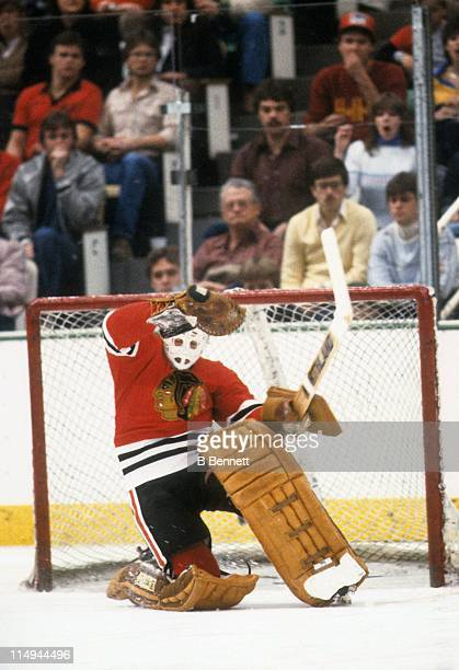 Goalie Tony Esposito of the Chicago Blackhawks makes the save during an NHL game circa 1980