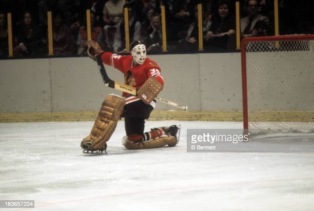 Goalie Tony Esposito of the Chicago Blackhawks makes the save during an NHL game against the New York Rangers circa 1973 at the Madison Square Garden...