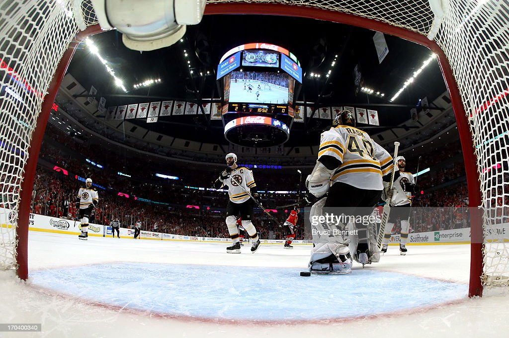 Goalie Tuukka Rask #40 of the Boston Bruins reacts after he gave up a goal in the second period to Brandon Saad #20 of the Chicago Blackhawks in Game One of the 2013 NHL Stanley Cup Final at United Center on June 12, 2013 in Chicago, Illinois.