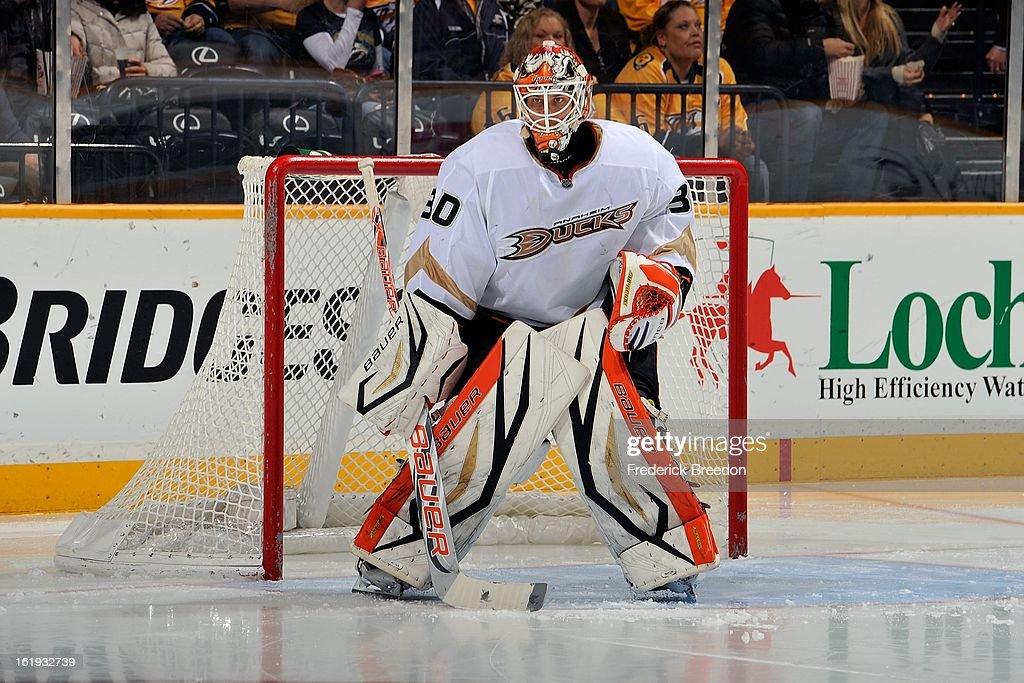 Goalie Viktor Fasth #30 of the Anaheim Ducks plays against the Nashville Predators at the Bridgestone Arena on February 16, 2013 in Nashville, Tennessee.