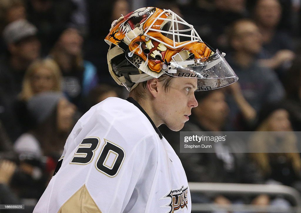 Goalie <a gi-track='captionPersonalityLinkClicked' href=/galleries/search?phrase=Viktor+Fasth&family=editorial&specificpeople=7640136 ng-click='$event.stopPropagation()'>Viktor Fasth</a> #30 of the Anaheim Ducks waits for play to start against the Los Angeles Kings at Staples Center on April 13, 2013 in Los Angeles, California.