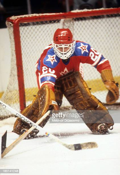 Goalie Vladislav Tretiak of the CSKA defends the net during the 197980 Super Series against the New York Rangers on December 27 1979 at the Madison...