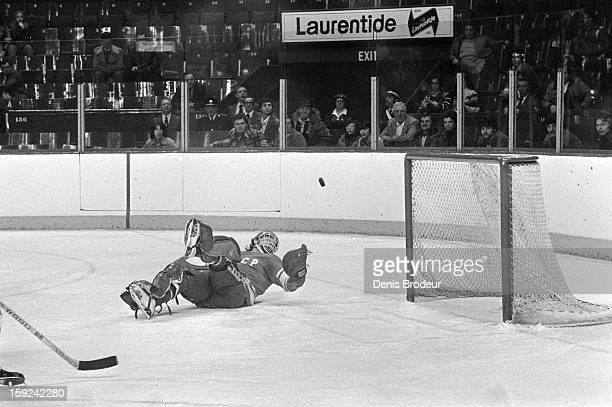 Goalie Vladislav Tretiak of the Soviet Union defends the goal against Canada during a Canada Cup game at the Maple Leaf Gardens on September 11 1976...
