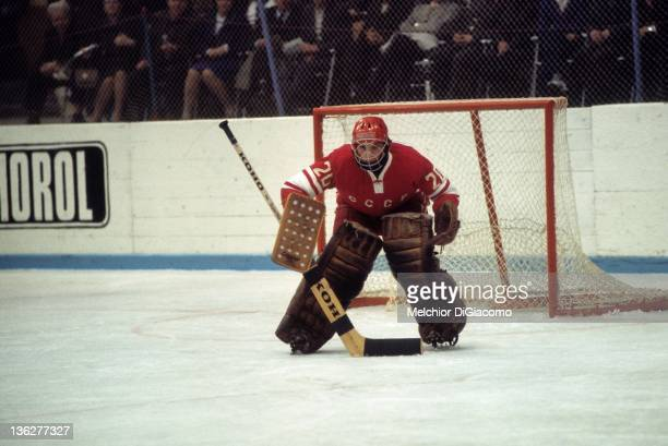 Goalie Vladislav Tretiak of the Soviet Union defends the net during the 1972 Summit Series against Canada at the Luzhniki Ice Palace in Moscow Russia
