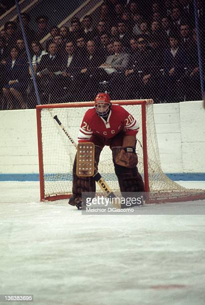 Goalie Vladislav Tretiak of the Soviet Union defends the net during the game against Canada in the 1972 Summit Series at the Luzhniki Ice Palace in...