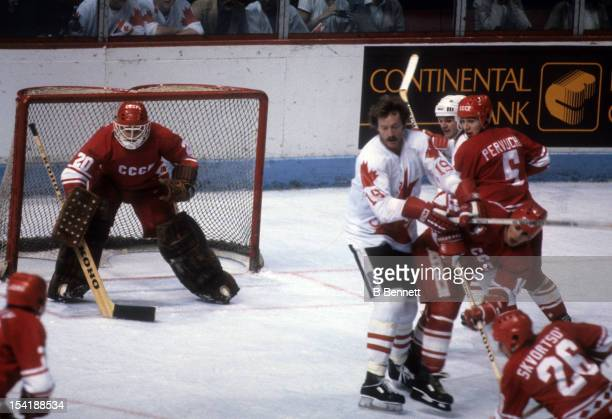 Goalie Vladislav Tretiak of the Soviet Union defends the net during the 1981 Canada Cup Final against Canada on September 13 1981 at the Montreal...