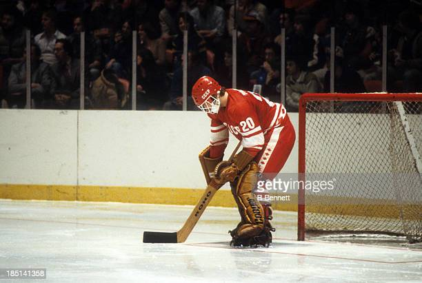Goalie Vladislav Tretiak of the USSR defends the net during an 1980 exhibition game against Team USA on February 9 1980 at the Madison Square Garden...
