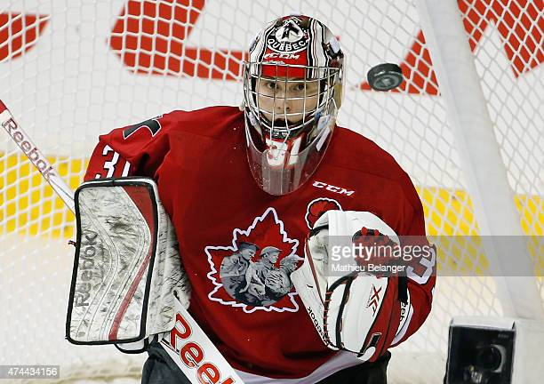 Goalie Zachary Fucale of the Quebec Remparts eyes the puck during Game One of the 2015 Memorial Cup against the Kelowna Rockets at the Pepsi Coliseum...