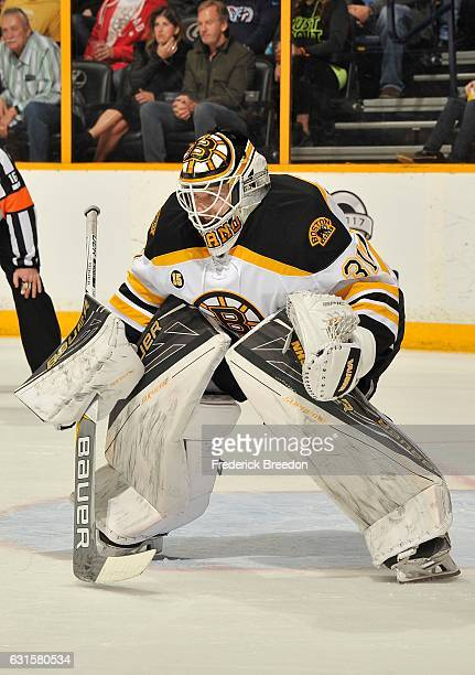 Goalie Zane McIntyre of the Boston Bruins skates against the Nashville Predators during the first period at Bridgestone Arena on January 12 2017 in...