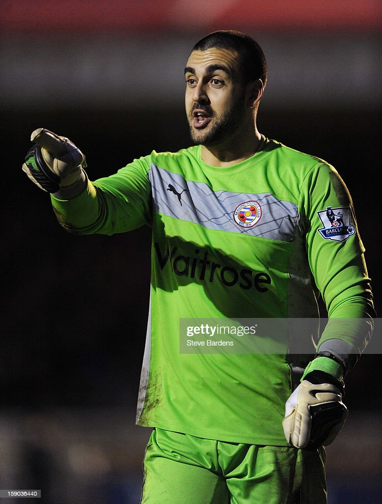 Goalkeeper <a gi-track='captionPersonalityLinkClicked' href=/galleries/search?phrase=Adam+Federici&family=editorial&specificpeople=886953 ng-click='$event.stopPropagation()'>Adam Federici</a> of Reading gives instructions during the FA Cup with Budweiser Third Round match between Crawley Town and Reading at Broadfield Stadium on January 5, 2013 in Crawley, West Sussex.