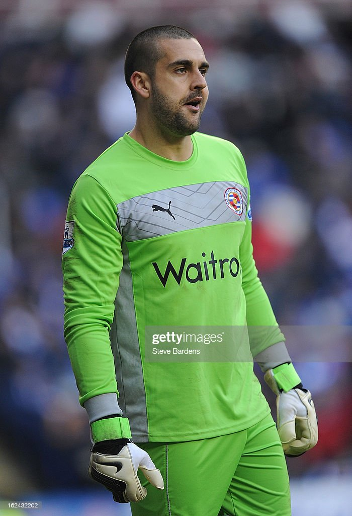 Goalkeeper Adam Federici of Reading looks pensive during the Barclays Premier League match between Reading and Wigan Athletic at Madejski Stadium on February 23, 2013 in Reading, England.