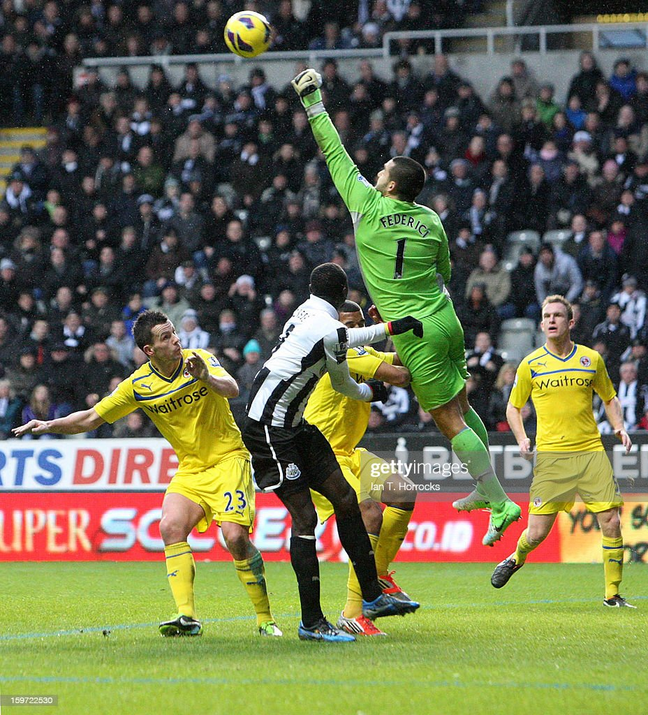 Goalkeeper Adam Federici of Reading makes a save during the Barclays Premier League match between Newcastle United and Reading at St James' Park on January 19, 2013 in Newcastle upon Tyne, England.