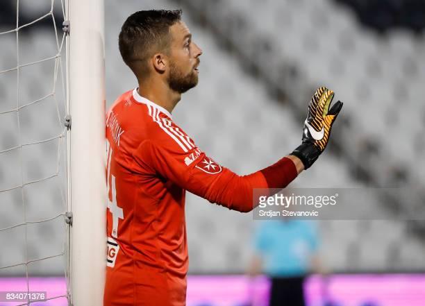 Goalkeeper Adam Kovacsik of Videoton reacts during the UEFA Europa League Qualifying PlayOffs round first leg match between Partizan and Videoton FC...