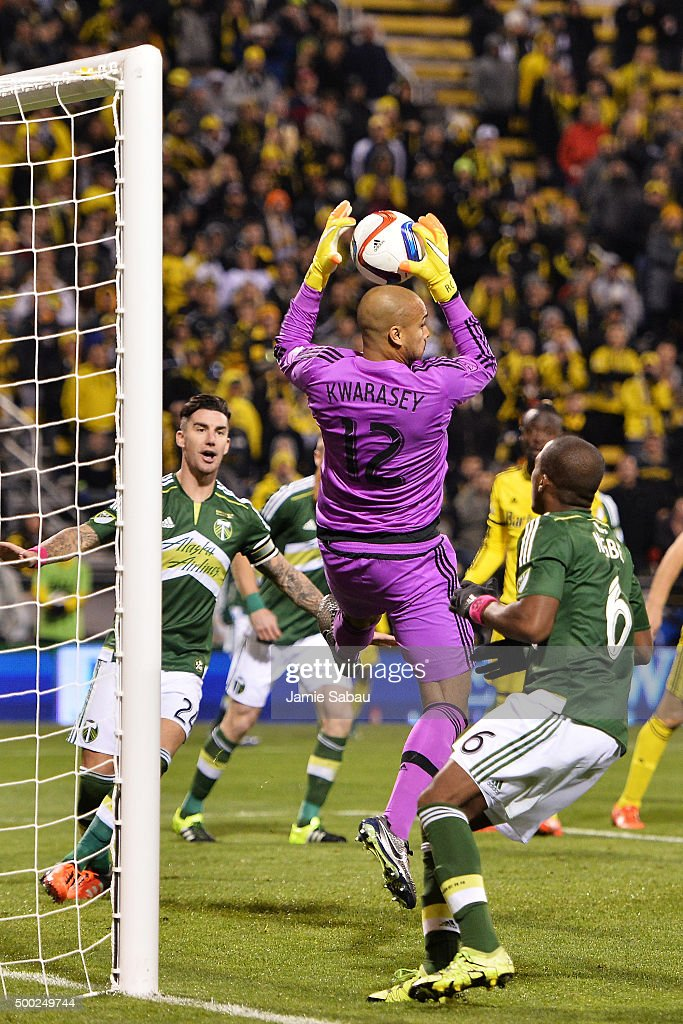 Goalkeeper Adam Kwarasey #12 of the Portland Timbers makes a save on a shot in the second half against the Columbus Crew SC on December 6, 2015 at MAPFRE Stadium in Columbus, Ohio. Portland defeated Columbus Crew SC 2-1 to claim the MLS Cup title.
