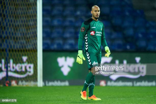 Goalkeeper Adam Larsen Kwarasey of Brondby IF in action during the Danish Cup DBU Pokalen match between BK Marienlyst and Brondby IF at Brondby...