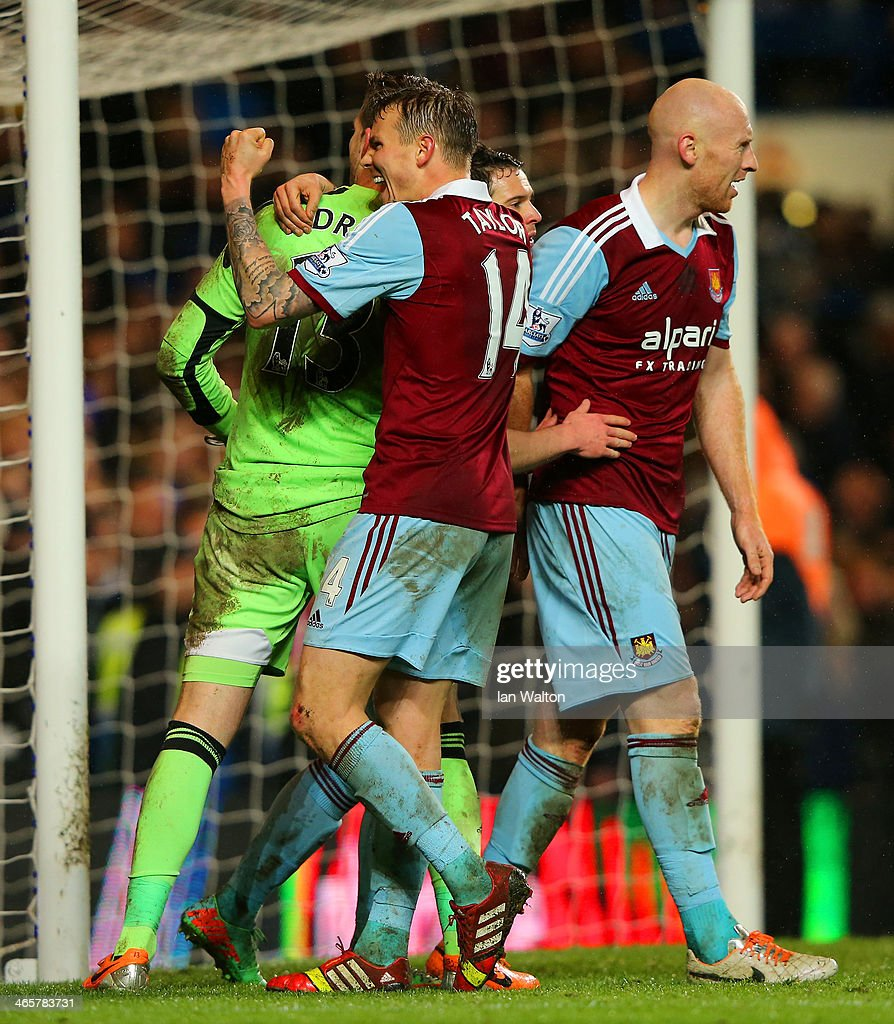 Goalkeeper Adrian of West Ham celebrates with team mated during the Barclays Premier League match between Chelsea and West Ham United at Stamford Bridge on January 29, 2014 in London, England.