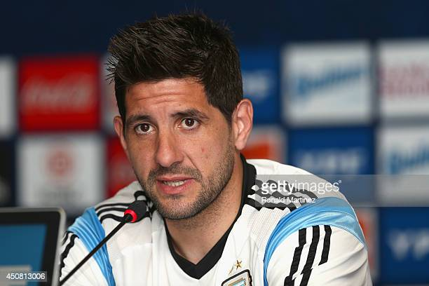 Goalkeeper Agustin Orion of Argentina speaks with the media during a press conference at Cidade do Galo on June 18 2014 in Vespasiano Brazil