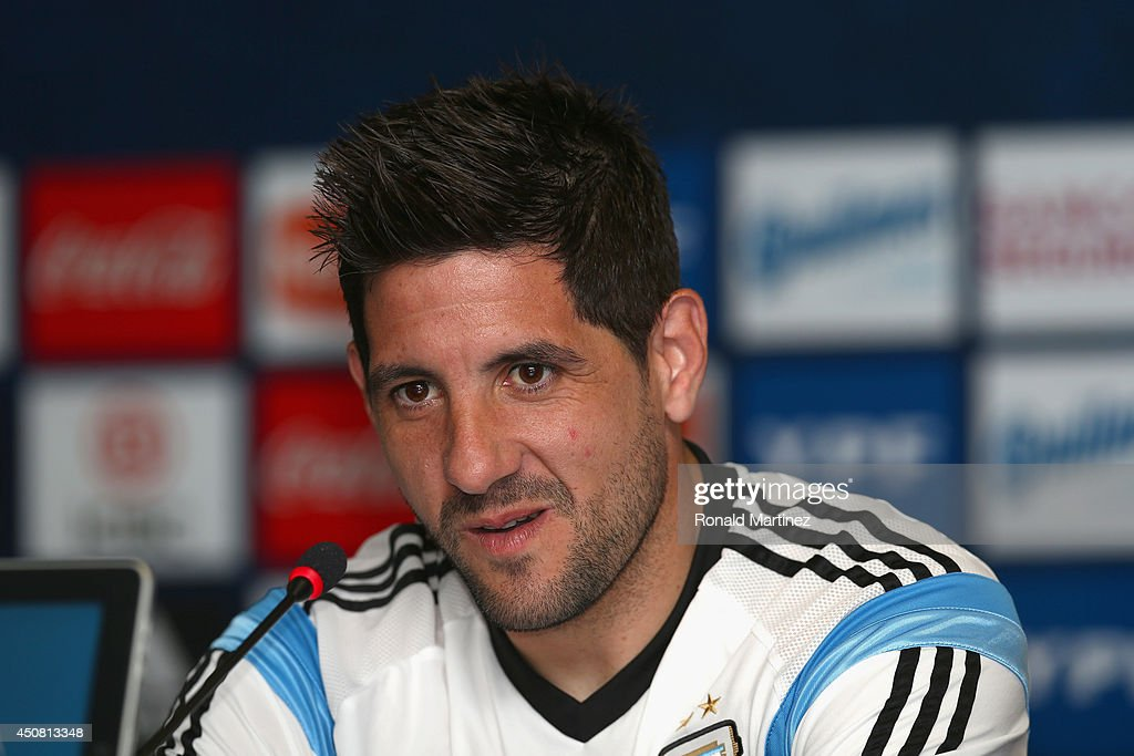 Goalkeeper <a gi-track='captionPersonalityLinkClicked' href=/galleries/search?phrase=Agustin+Orion&family=editorial&specificpeople=2498311 ng-click='$event.stopPropagation()'>Agustin Orion</a> of Argentina speaks with the media during a press conference at Cidade do Galo on June 18, 2014 in Vespasiano, Brazil.