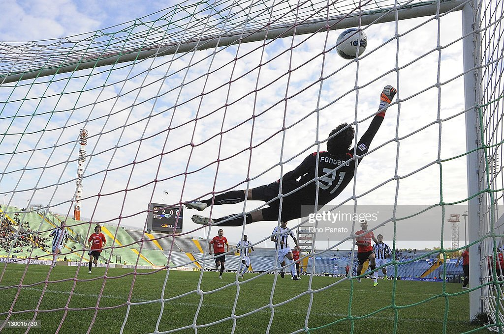 Goalkeeper Alberto Maria Fontana of Udinese tries to save the third goal during the Serie A match between Udinese Calcio and Novara Calcio at Stadio...