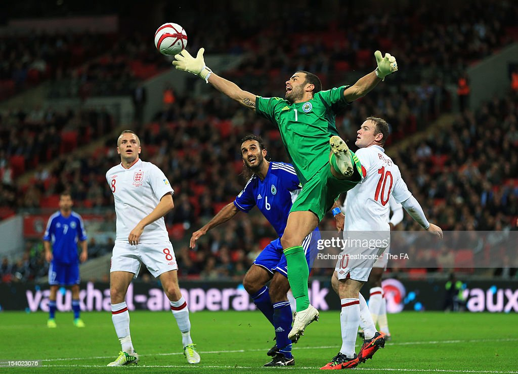 Goalkeeper Aldo Junior Simoncini of San Marino fails to claim the ball during the FIFA 2014 World Cup Group H qualifying match between England and San Marino at Wembley Stadium on October 12, 2012 in London, England.