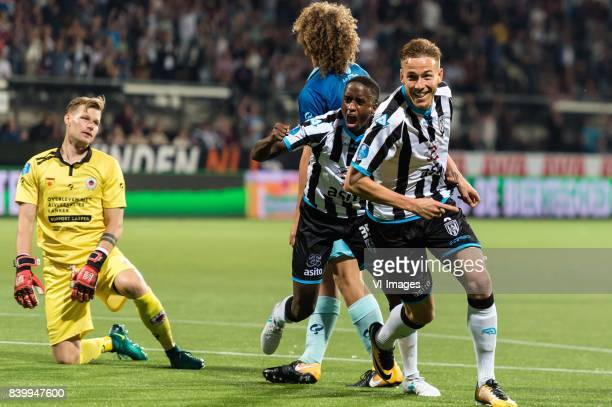 goalkeeper Alessandro Damen of Excelsior Wout Faes of Excelsior Jamiro Monteiro of Heracles Almelo Paul Gladon of Heracles Almelo during the Dutch...