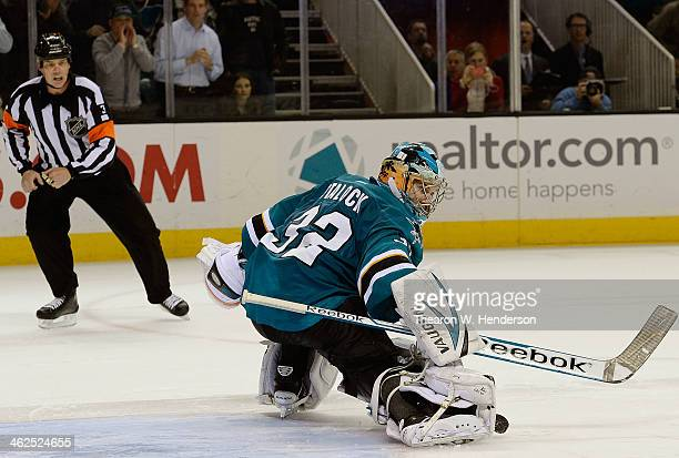 Goalkeeper Alex Stalock of the San Jose Sharks in a shoot out blocks the shot of Ray Whitney of the Dallas Stars at SAP Center on December 21 2013 in...