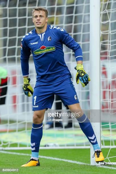 Goalkeeper Alexander Schwolow of Freiburg gestures during the Bundesliga match between SportClub Freiburg and Borussia Dortmund at SchwarzwaldStadion...