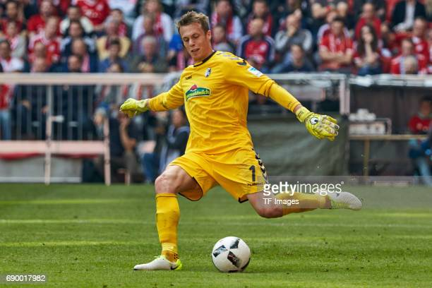 Goalkeeper Alexander Schwolow of Freiburg in action during the Bundesliga match between Bayern Muenchen and SC Freiburg at Allianz Arena on May 20...