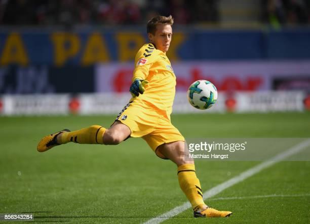 Goalkeeper Alexander Schwolow of Freiburg in action during the Bundesliga match between SportClub Freiburg and TSG 1899 Hoffenheim at...
