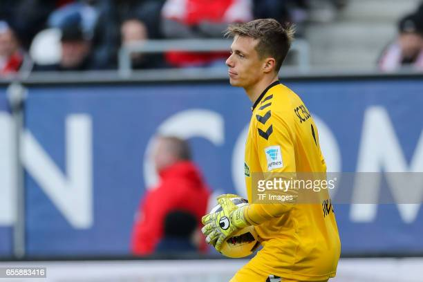 Goalkeeper Alexander Schwolow of Freiburg looks on during the Bundesliga match between FC Augsburg and SC Freiburg at WWK Arena on March 18 2017 in...