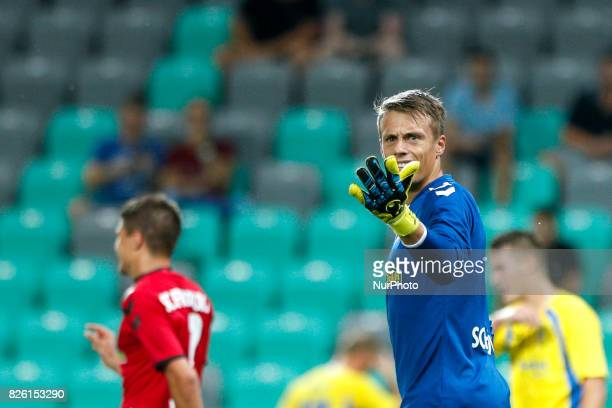 Goalkeeper Alexander Schwolow of SC Freiburg during the UEFA Europa League Third Qualifying Round match between SC Freibur and NK Domzale at Arena...