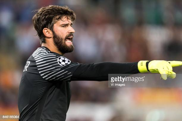 goalkeeper Alisson Becker of AS Roma during the UEFA Champions League group C match match between AS Roma and Atletico Madrid on September 12 2017 at...