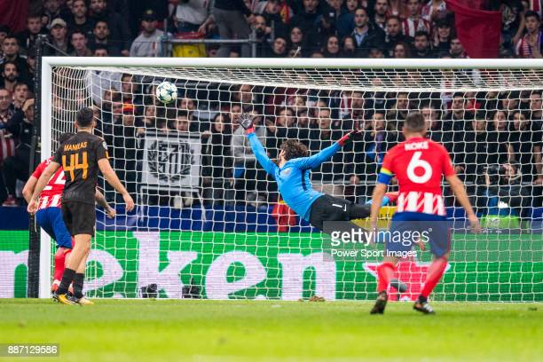 Goalkeeper Alisson Becker of AS Roma trying to catch the ball during the UEFA Champions League 201718 match at Wanda Metropolitano on 22 November...