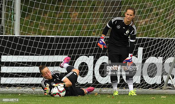 Goalkeeper Almuth Schult and Goalkeeper Laura Benkarth of Germany during the training on September 16 2015 in Leipzig Germany