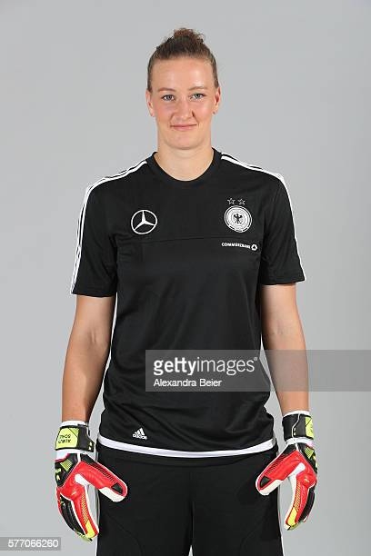 Goalkeeper Almuth Schult of the German women's national football team poses during the team presentation on June 21 2016 in Grassau Germany