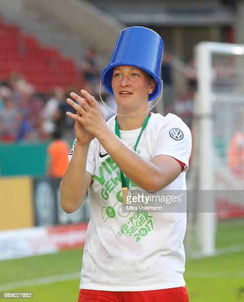 Goalkeeper Almuth Schult of Wolfsburg celebrates the winning of the trophy with a pail during the Women's DFB Cup Final 2017 match between SC Sand...