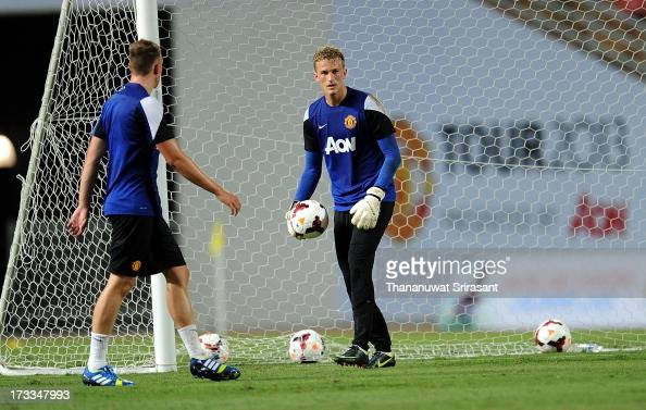 Goalkeeper Anders Lindegaard of Manchester United during a Manchester United training session at Rajamangala Stadium on July 12 2013 in Bangkok...