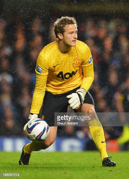 Goalkeeper Anders Lindegaard of Manchester United in action during the Capital One Cup Fourth Round match between Chelsea and Manchester United at...