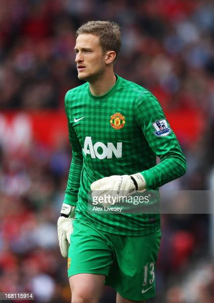 Goalkeeper Anders Lindegaard of Manchester United looks on during the Barclays Premier League match between Manchester United and Chelsea at Old...