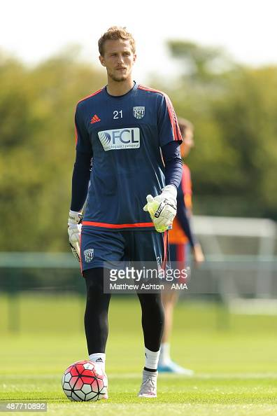 Goalkeeper Anders Lindegaard of West Bromwich Albion during the West Bromwich Albion training session at West Bromwich Albion Training Ground on...