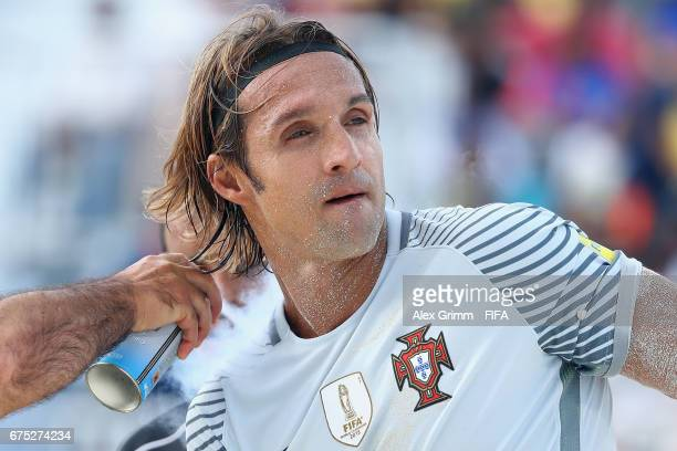 Goalkeeper Andrade of Portugal receives treatment during the FIFA Beach Soccer World Cup Bahamas 2017 group C match between Paraguay and Portugal at...