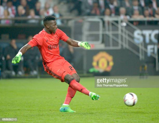 Goalkeeper Andre Onana in action for Ajax during the UEFA Europa League final between Ajax and Manchester United at the Friends Arena on May 24 2017...