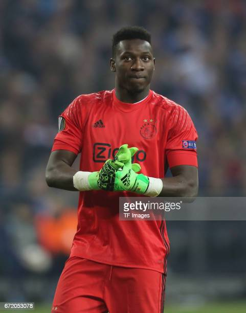 Goalkeeper Andre Onana of Ajax Amsterdam looks on during the UEFA Europa League quarter final second leg match between FC Schalke 04 and Ajax...