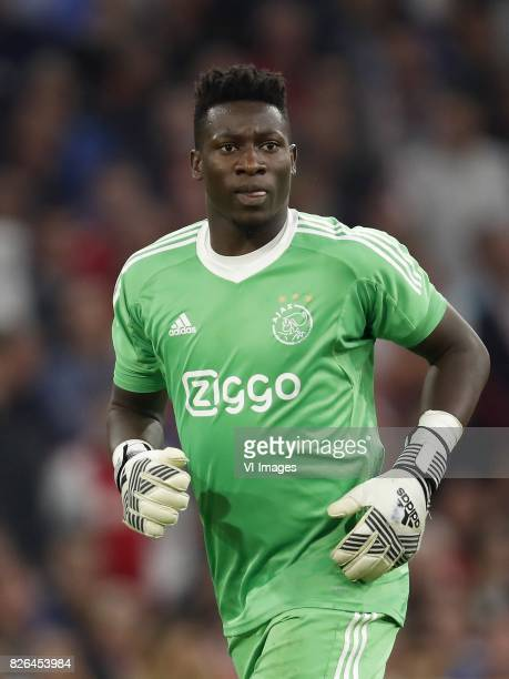 goalkeeper Andre Onana of Ajax during the UEFA Champions League third round qualifying first leg match between Ajax Amsterdam and OGC Nice at the...