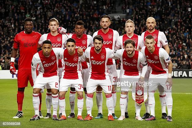 goalkeeper Andre Onana of Ajax Matthijs de Ligt of Ajax Bertrand Traore of Ajax Mitchell Dijks of Ajax Donny van de Beek of Ajax Heiko Westermann of...